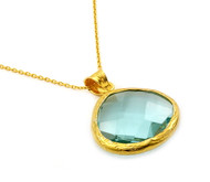 """Gold-Tone Plated Sterling Silver 925 And Simulated Aquamarine Quartz Necklace 16""""+2"""" Adjustable"""