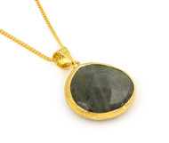 """Gold-Tone Plated Sterling Silver 925 And Simulated Labradorite 16""""+2"""" Adjustable"""