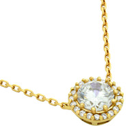 "Round Cubic Zirconia Necklace Gold-Tone Plated In 16"" + 2"""