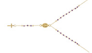 """Gold-Tone Plated Simulated Amethyst Rosary Necklace 18"""" + 2"""""""