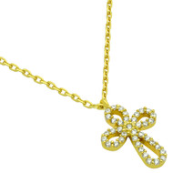 """Gold-Tone Plated Rounded Cross Cubic Zirconia Necklace 16"""" + 2"""""""