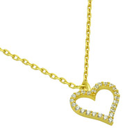 "Gold-Tone Plated Cubic Zirconia Heart Necklace 16"" + 2"""