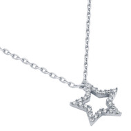 """Rhodium Plated Cubic Zirconia Star Necklace 16"""" + 2"""""""