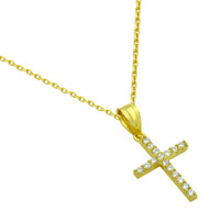 Gold-Tone Plated Small Cubic Zirconia Cross Necklace