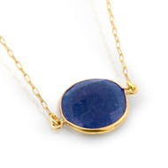 "Gold-Tone Plated Round Blue Stone Necklace In 16"" + 1"""
