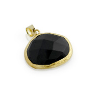 Gold-Tone Plated Sterling Silver  Black Simulated Onyx Pendant