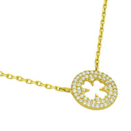 "Gold-Tone Plated Cubic Zirconia Cut Out Clover Necklace In 16"" + 2"""