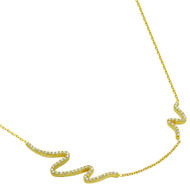 "Gold-Tone Plated Cubic Zirconia Wave Design Necklace 16"" + 2"""