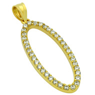 Yellow Gold-Tone Plated Sterling Silver Cubic Zirconia Oval Pendant