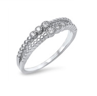 Twin Design Cubic Zirconia Fashion Ring Sterling Silver 925