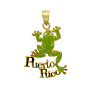 Yellow Gold-Tone Plated Sterling Silver Green Enameled Frog Charm