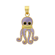 Yellow Gold-Tone Plated Sterling Silver Purple Enameled Octopus Charm