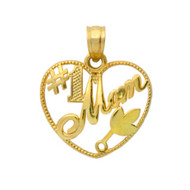 Yellow Gold-Tone Plated Sterling Silver Mom Will Always Be Number One Heart Pendant