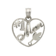 Rhodium Plated Sterling Silver Mom Will Always Be Number One Heart Pendant