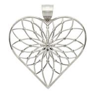 Rhodium Plated Sterling Silver Designer Heart Pendant