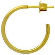 Yellow Gold-Tone Sterling Silver Hoop stud Earrings