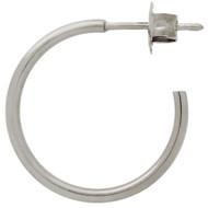 Rhodium Plated Sterling Silver Hoop stud Earrings