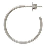 Rhodium Plated Sterling Silver Hoop Designer Post Earrings