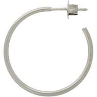 Rhodium Plated  Sterling Silver plain Hoop Design Post Earrings