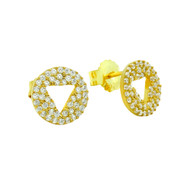 Eternity Cubic Zirconia Pave Cutout Trangle Stud Earrings Yellow Gold-Tone Plated Sterling Silver