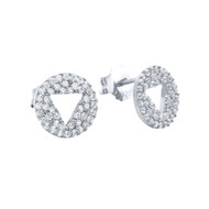 Eternity Cubic Zirconia Pave Cutout Trangle Stud Earrings Rhodium Plated Sterling Silver