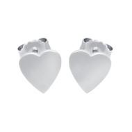 Rhodium Plated Sterling Silver Plain Heart Stud Earrings