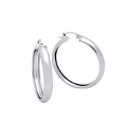Rhodium Plated Sterling Silver Plain Light Weight Hoop Earrings