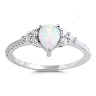 Classic Designer Pear White Simulated Opal Cubic Zirconia Ring Sterling Silver 925