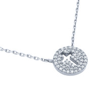 """Rhodium Plated Sterling Silver Cubic Zirconia Pave Cross Necklace 16""""+2"""""""