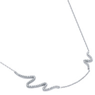 """Rhodium Plated Sterling Silver  Cubic Zirconia Wave Design Necklace 16""""+2"""""""