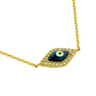 """Yellow Gold-Tone Plated Sterling Silver Cubic Zirconia Pave Dark Blue Eye Necklace 16""""+2"""""""
