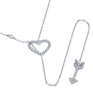 """Rhodium Plated Sterling Silver Cubic Zirconia Heart And Arrow Necklace 22"""""""