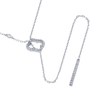"""Rhodium Plated Sterling Silver Cubic Zirconia Clover And Bar Necklace 22"""""""