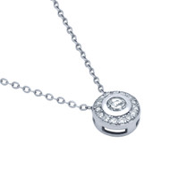 """Rhodium Plated Sterling Silver Cubic Zirconia Elegant Necklace 18"""""""