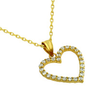 """Yellow Gold-Tone Plated Sterling Silver Cubic Zirconia Heart Necklace 16""""+2"""""""