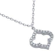 """Rhodium Plated Sterling Silver Cubic Zirconia Royal Clover Necklace 16""""+2"""""""