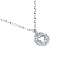 """Rhodium Plated Sterling Silver Cubic Zirconia Pave Cutout Traingle Necklace 16""""+2"""""""