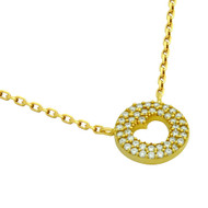 """Yellow Gold-Tone Plated Sterling Silver Cubic Zirconia pave Heart Necklace 16""""+2"""""""