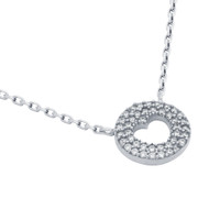 """Rhodium Plated Sterling Silver Cubic Zirconia pave Heart Necklace 16""""+2"""""""
