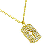 """Yellow Gold-Tone Plated Sterling Silver Cubic Zirconia pave Tag With Cutout Cross Necklace 16""""+2"""""""