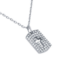 """Rhodium Plated Sterling Silver Cubic Zirconia pave Tag With Cutout Cross Necklace 16""""+2"""""""