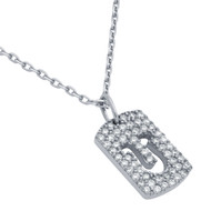 """Rhodium Plated Sterling Silver Cubic Zirconia pave Tag With Cutout Horseshoe Necklace 16""""+2"""""""