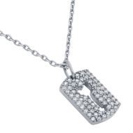 """Rhodium Plated Sterling Silver Cubic Zirconia pave Tag With Cutout Arrow Necklace 16""""+2"""""""