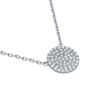 """Rhodium Plated Sterling Silver Cubic Zirconia Pave Round Surface Necklace 16""""+2"""""""