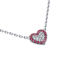 """Rhodium Plated Sterling Silver Pink And Clear Cubic Zirconia Pave Heart Necklace 16""""+2"""""""