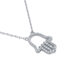 """Rhodium Plated Sterling Silver Cubic Zirconia Hamsa Hand Necklace 16""""+2"""""""