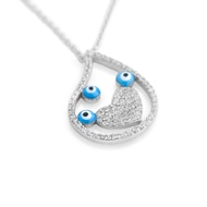 """Rhodium Plated Sterling Silver Cubic Zirconia Pave Heart Design Three Eyes Necklace 16""""+2"""""""