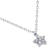 """Rhodium Plated Sterling Silver Cubic Zirconia Pave Star Necklace 16""""+2"""""""