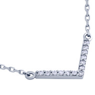 """Rhodium Plated Sterling Silver Cubic Zirconia V Necklace 16""""+2"""""""