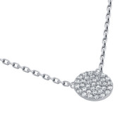 """Rhodium Plated Sterling Silver Cubic Zirconia Pave Disk Necklace 16""""+2"""""""